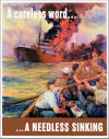 "U.S. Merchant Marine ""A Careless Word...A Needless Sinking"" WWII Poster"