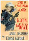 """Gee!! I Wish I Were A Man"" (Navy & USCG) Color Poster"