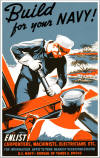 "WWI Color Poster: ""Build For Your Navy"" - 17"" X 22"" Size"