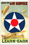 "WWI Color Poster: ""Join The Army Air Service"" - 17"" X 22"" Size"